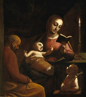 Luca Cambiaso Painting - Holy Family With St John The Baptist by Luca Cambiaso