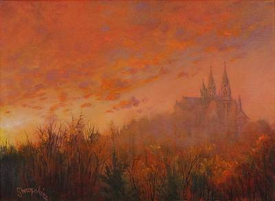 Tree At Sunset Painting - Holy Hill by Tom Shropshire