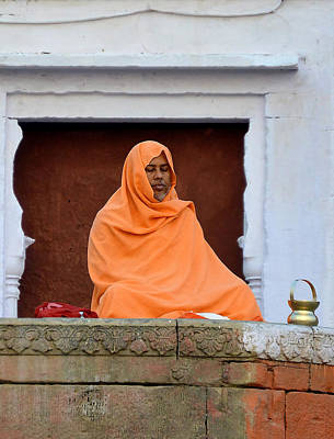 Cremation Ghat Photograph - Holy Man by John And Laurel Rodgers