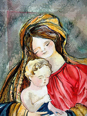 Holy Mother And Child Print by Mindy Newman