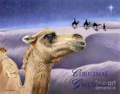 Camel Painting - Holy Night- Christmas Greetings Cards by Sarah Batalka