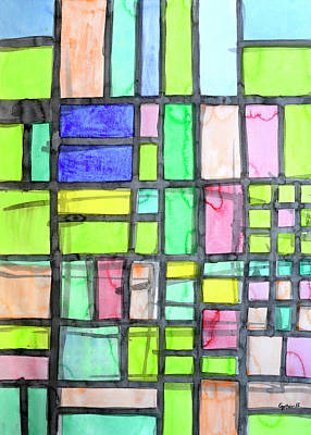 Grid Painting - Homage To Mondrian by Heidi Capitaine