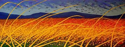 Wine Bottle Painting - Homage To Van Gogh by John  Nolan