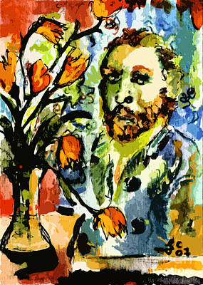Homage To Vangogh Tulips And Portrait Print by Ginette Callaway