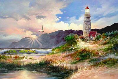 Portland Head Lighthouse Painting - Home For The Night by Ron Chambers