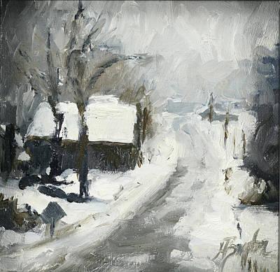 Heather Burton Painting - Home In Winter by Heather Burton