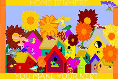 Old School House Digital Art - Home Is Where You Make Your Nest by Pharris Art