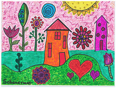 Uplifting Drawing - Home Sweet Home by Susan Schanerman