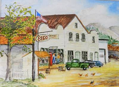Store Fronts Painting - Home Town Usa by Jim Decker