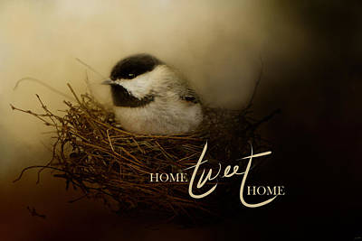 Chickadee Photograph - Home Tweet Home With Words by Jai Johnson