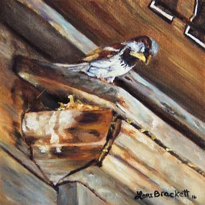 Yellow Beak Painting - Home Under The Sign by Lori Brackett