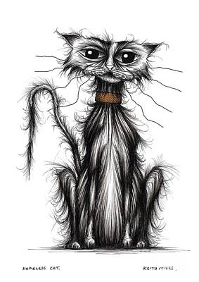 Moggy Drawing - Homeless Cat by Keith Mills