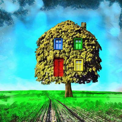 House Digital Art - Hometree - Da by Leonardo Digenio