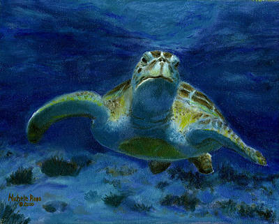 Honu Painting - Honaunau Honu by Michele Ross