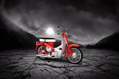 Honda C50 Cub 1967  Mountains Print by Aged Pixel
