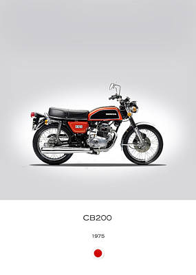 Honda Cb200 1975 Print by Mark Rogan