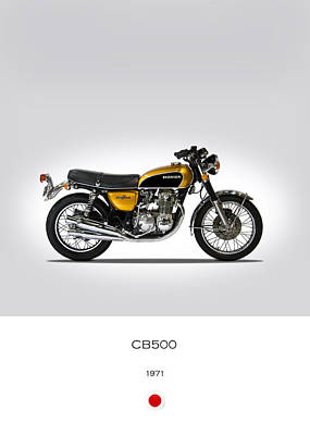 Honda Cb500 1971 Print by Mark Rogan
