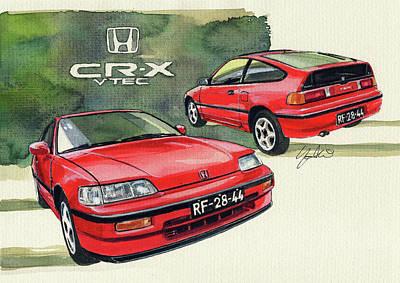 Honda Painting - Honda Cr-x Vtec by Yoshiharu Miyakawa