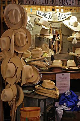 Luckenbach Photograph - Hondo's Cowboy Hats - Luckenback by Linda Phelps