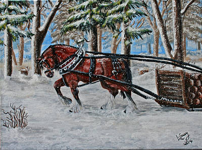 Logging Painting - Honest Day's Work by Louise Gray- Creative Expressions of Art
