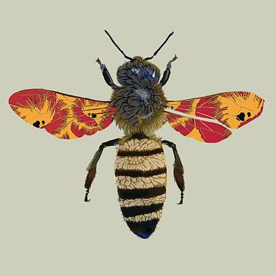 Wasp.insect Digital Art - Honey Bee by Sarah Hough