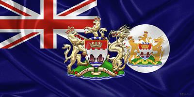 Hong Kong - 1959-1997 Historical Coat Of Arms Over British Hong Kong Flag  Original by Serge Averbukh