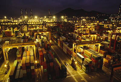 Transportation Of Goods Photograph - Hong Kong Container Terminal, One by Justin Guariglia