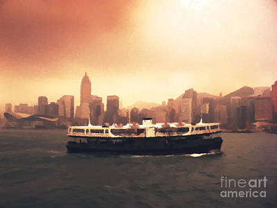 Commerce Painting - Hong Kong Harbour 01 by Pixel  Chimp