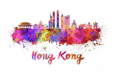 Hong Kong Painting - Hong Kong V2 Skyline In Watercolor by Pablo Romero