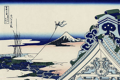 Turbulent Skies Painting - Honganji Temple At Asakusa In The Eastern Capital by Katsushika Hokusai