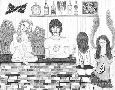 Rolling Stones Drawing - Honky Tonk Angels by Wendy Wunstell