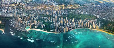 Honolulu From High Print by Sean Davey
