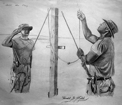 Iraq Drawing - Honor The Flag by Ronald  Welch