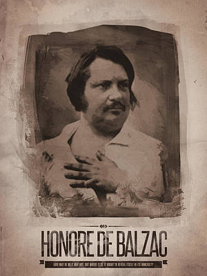 Honore De Balzac Print by Afterdarkness