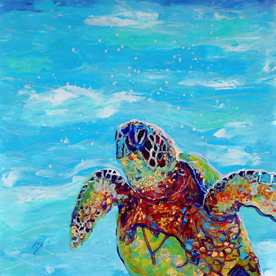 Green Sea Turtle Painting - Honu 10 by Marionette Taboniar