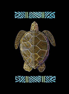 Sea Turtles Drawing - Honu Lava by Kirsten Carlson