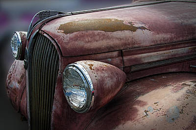 Mascot In Chrome Photograph - Hood Emblem On Rustic Plymouth by Nick Gray