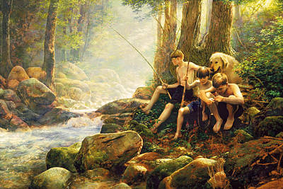 Retrievers Painting - Hook Line And Summer by Greg Olsen