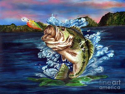 Largemouth Bass Drawing - Hooked by Kathleen Kelly Thompson