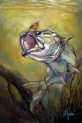 Largemouth Bass Painting - Hooked by Tom Dauria