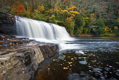Hooker Falls In Autumn - Fall Foliage In Dupont State Forest Print by Dave Allen
