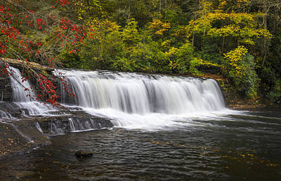 Hooker Falls In Autumn - Dupont State Forest Nc Print by Dave Allen