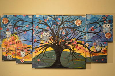 Hoolandia Owl Tree Of Life Original by MiMi Stirn