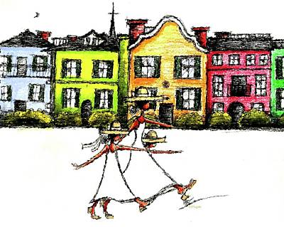 Mixed Media - Hope Love And Faith On Charleston Rainbow Row  by C F  Legette