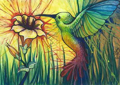 Hummingbird Painting - Hopeful Hummingbird Spirit by Sarah Jane