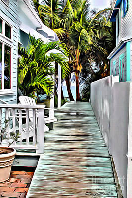 Coconuts Digital Art - Hopetown Walkway by Carey Chen