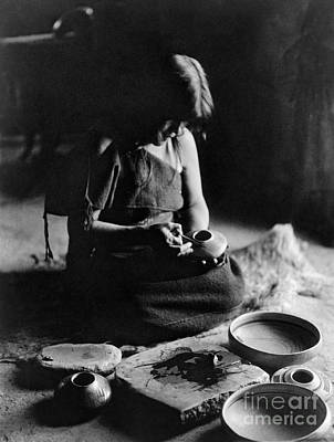 Native American Pottery Print featuring the photograph Hopi Potter, C1906 by Granger