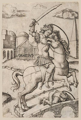 Drawing - Horatius Cocles On Horseback Trampling A Fallen Soldier by Marcantonio Raimondi