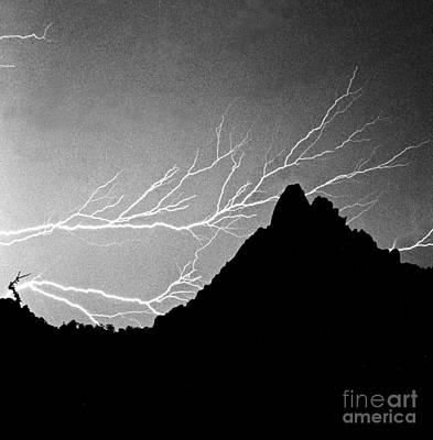 Weather Photograph - Horizonal Lightning Bw by James BO  Insogna