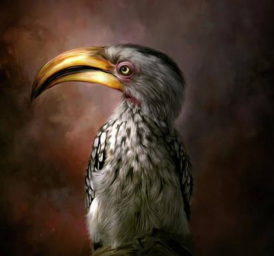 Hornbill Digital Art - Hornbill Hand Painted Home Decor by Tara Lee Richardson